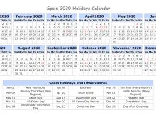Spain 2020 Holidays Calendar