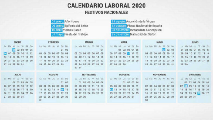Spain 2020 Yearly Calendar Printable