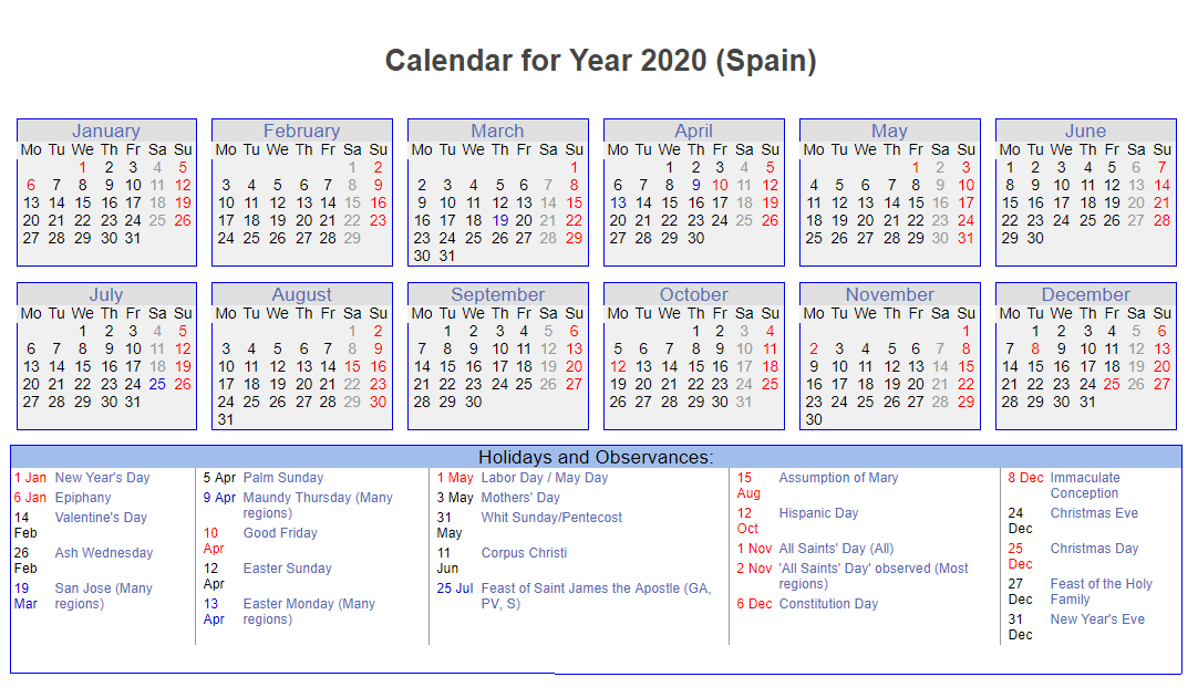 Spanish 2020 Calendar with Holidays