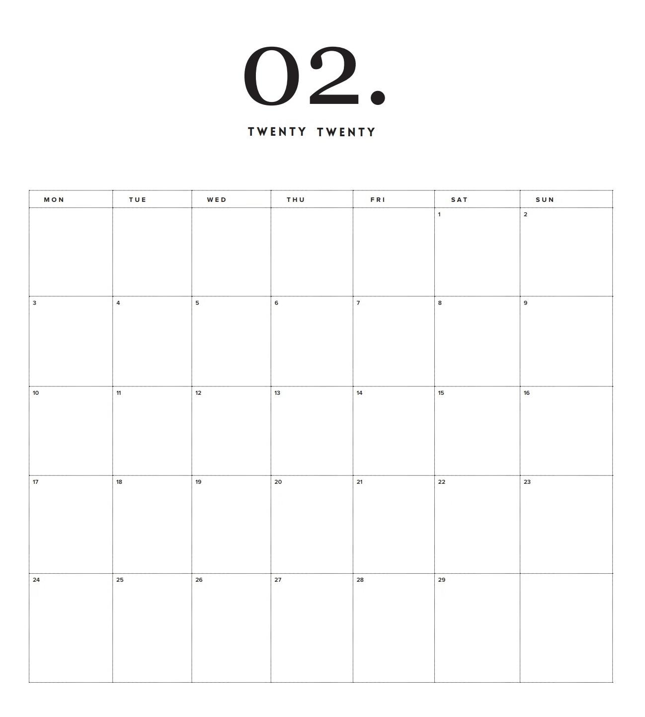 Best February 2020 Wall Calendar