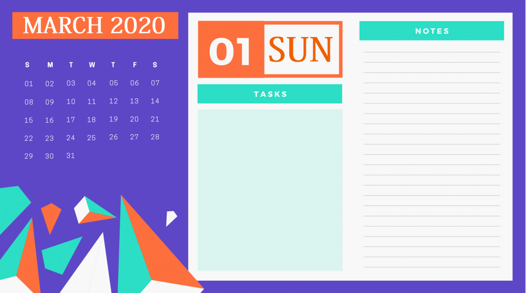 Best March 2020 Personal Calendar