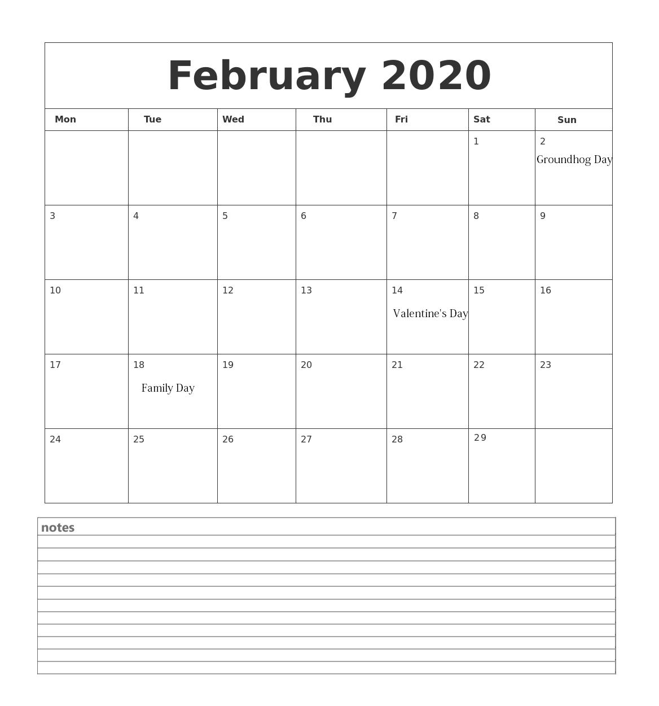 Customized February 2020 Calendar