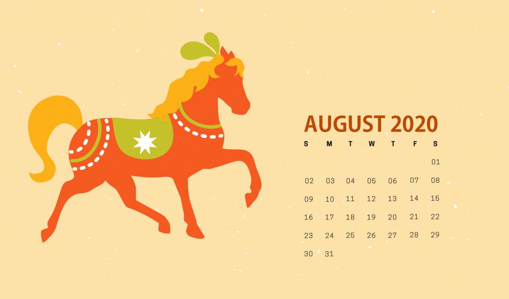 Cute August 2020 HD Calendar