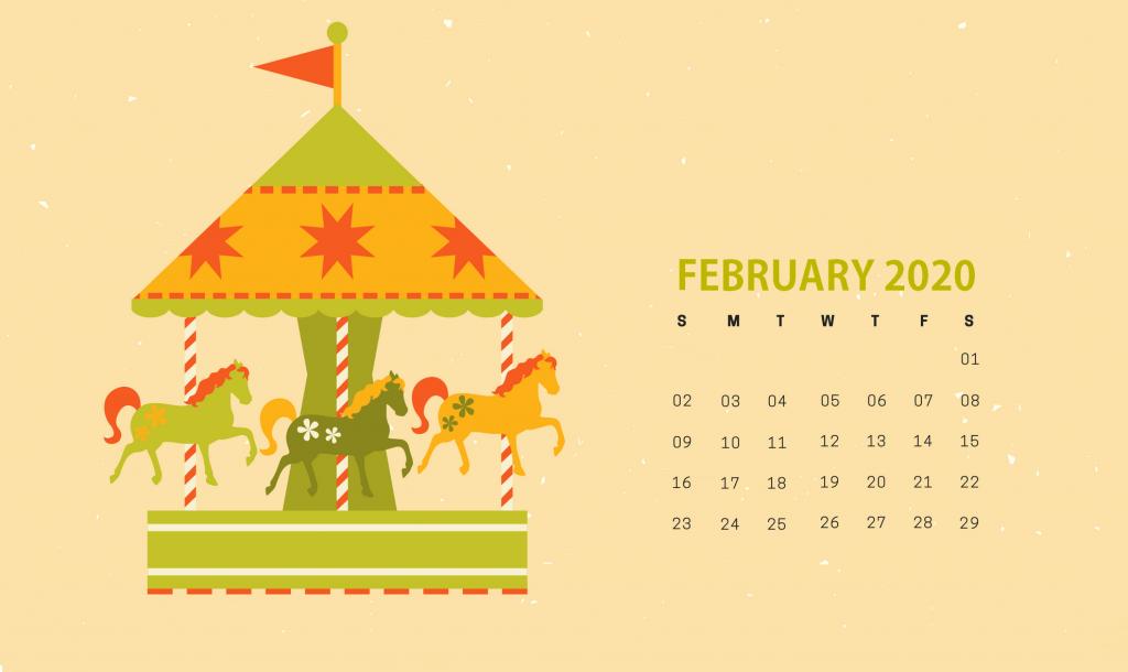 Cute February 2020 HD Calendar