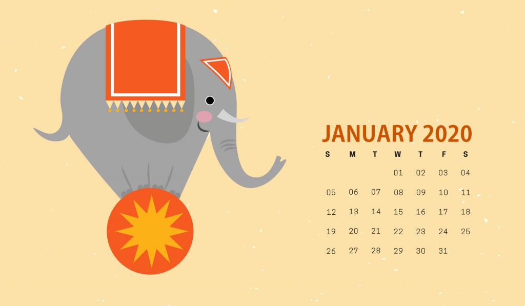 Cute January 2020 HD Calendar
