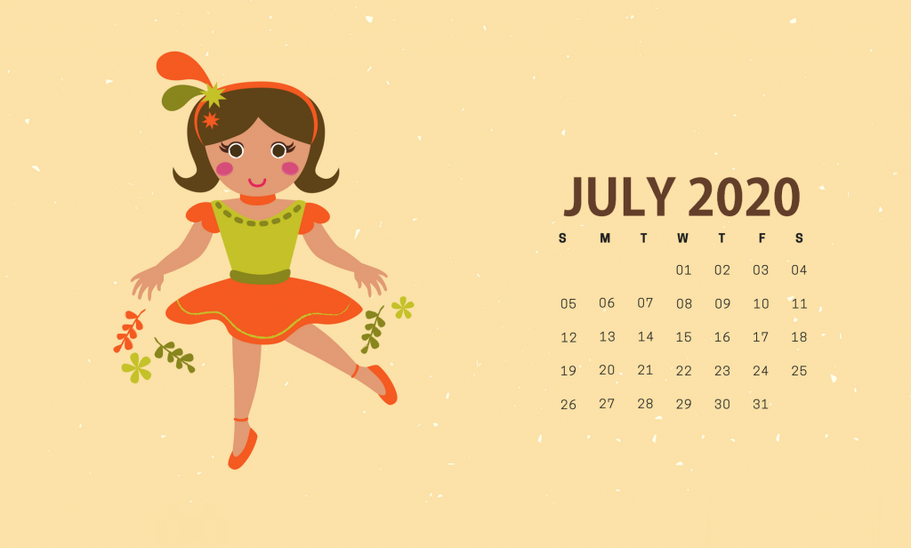 Cute July 2020 HD Calendar