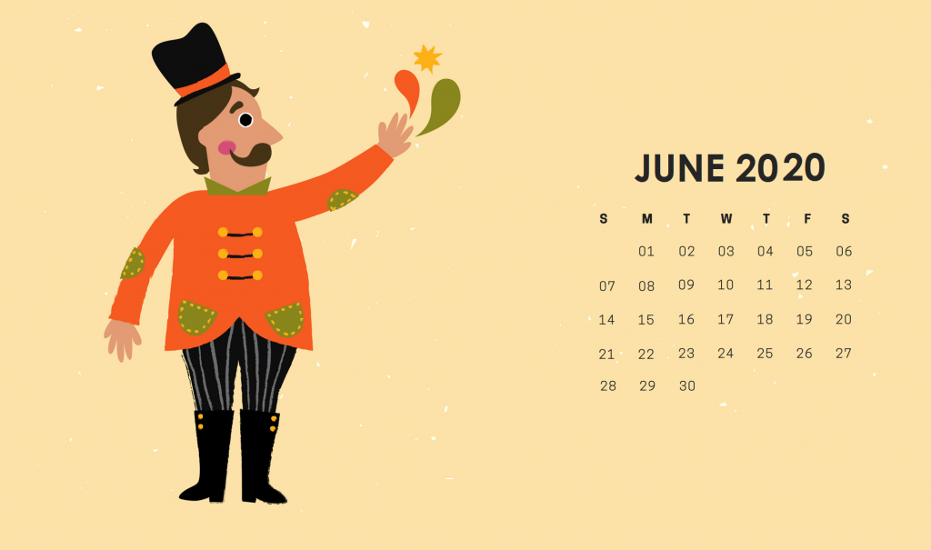 Cute June 2020 HD Calendar