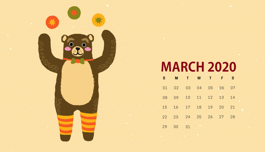 Cute March 2020 HD Calendar