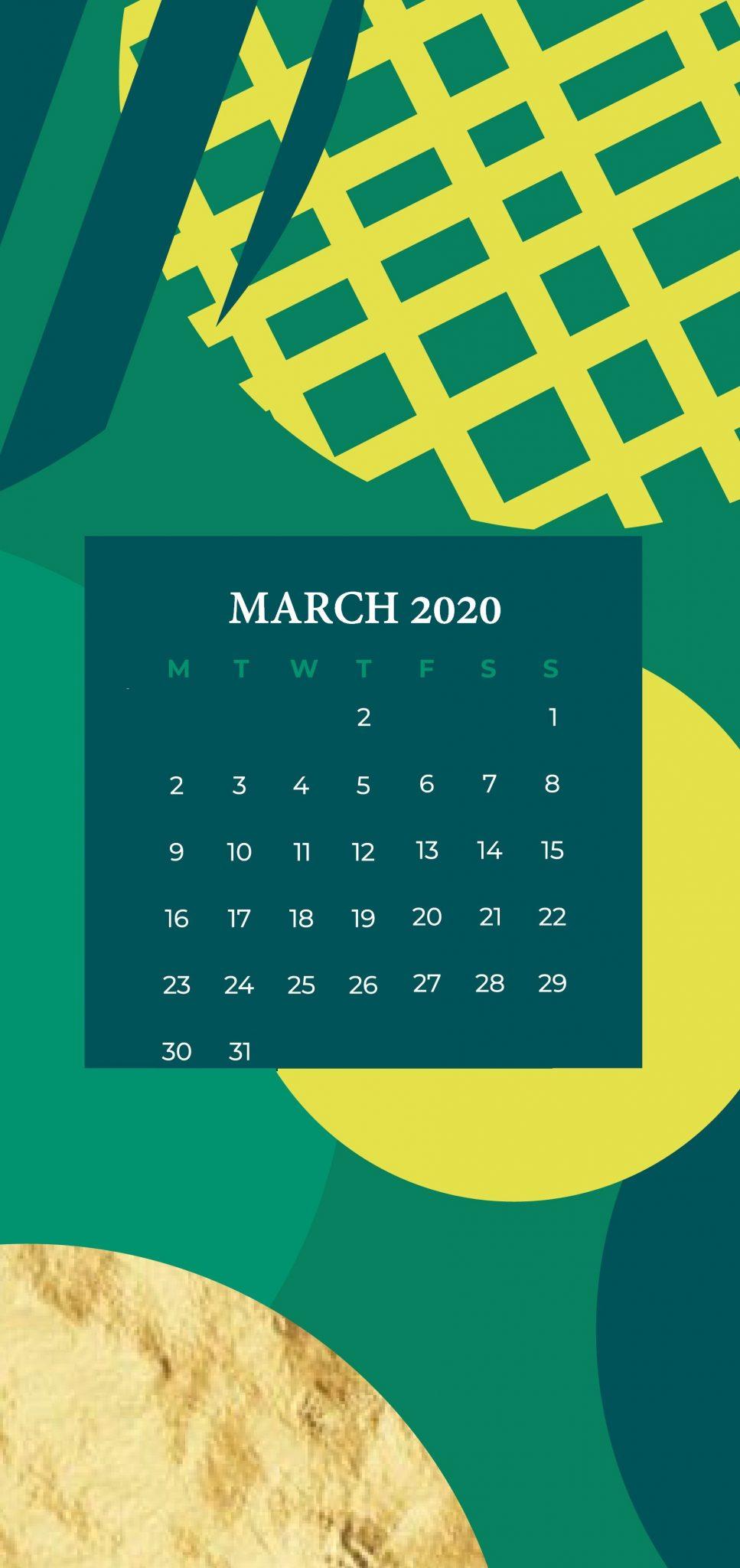 Cute March 2020 iPhone Calendar