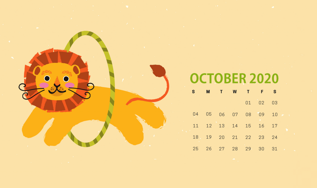 Cute October 2020 HD Calendar