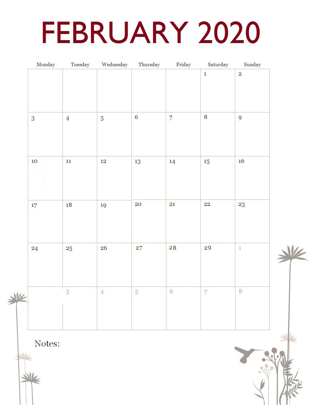 February 2020 Office Desk Calendar