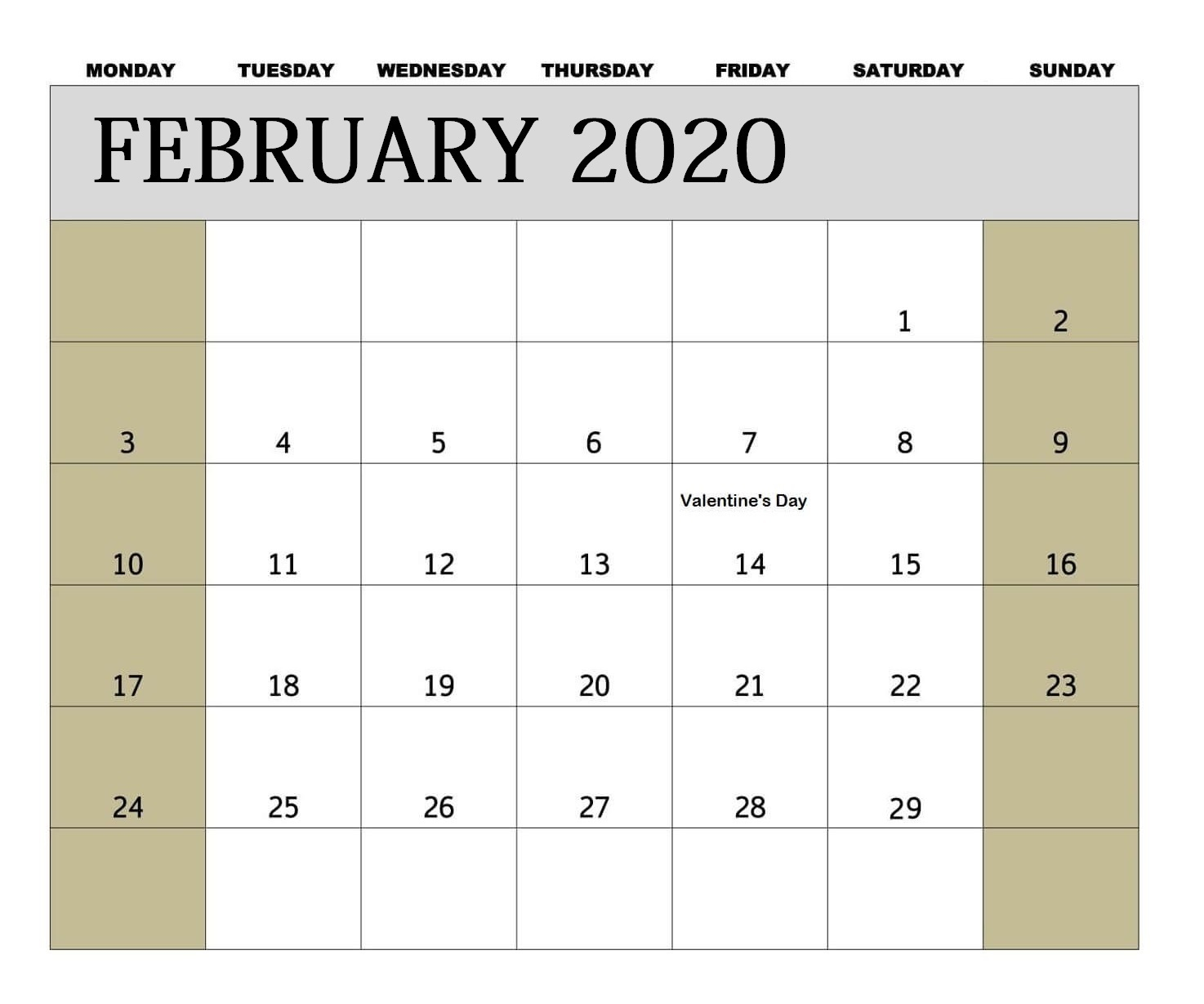 February 2020 Professional Calendar