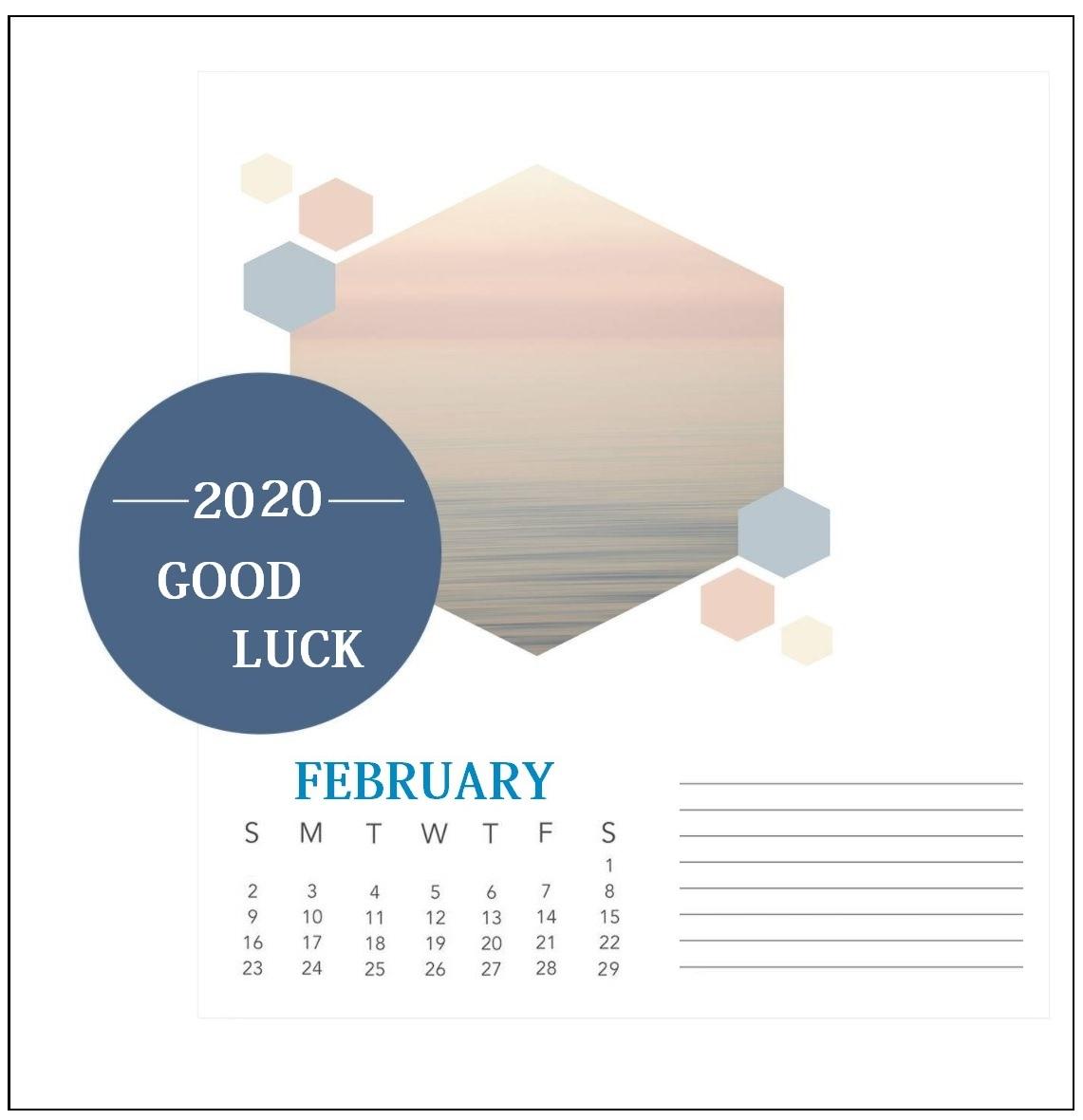 Free February 2020 Wall Calendar