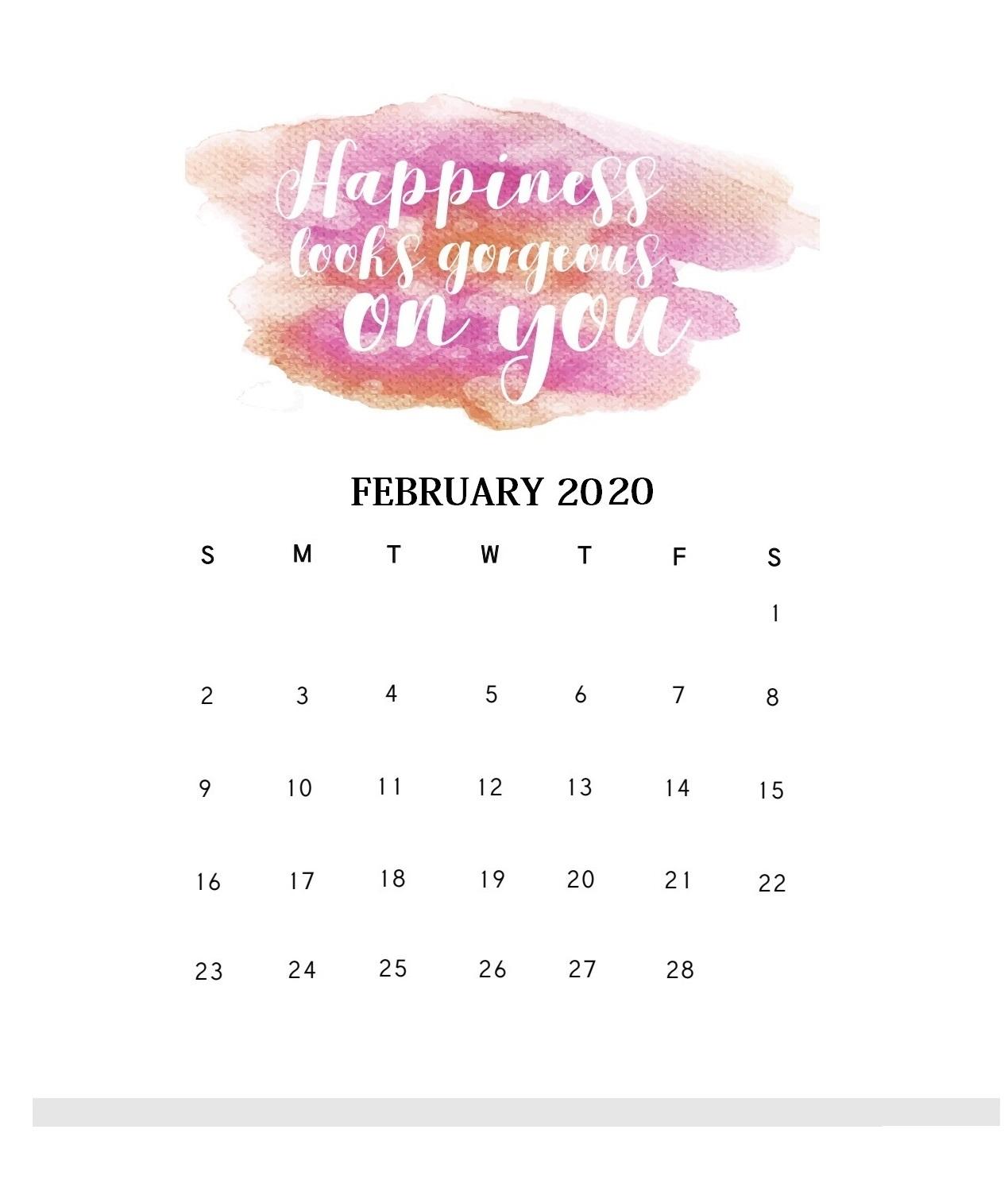 Motivational February 2020 Wall Calendar