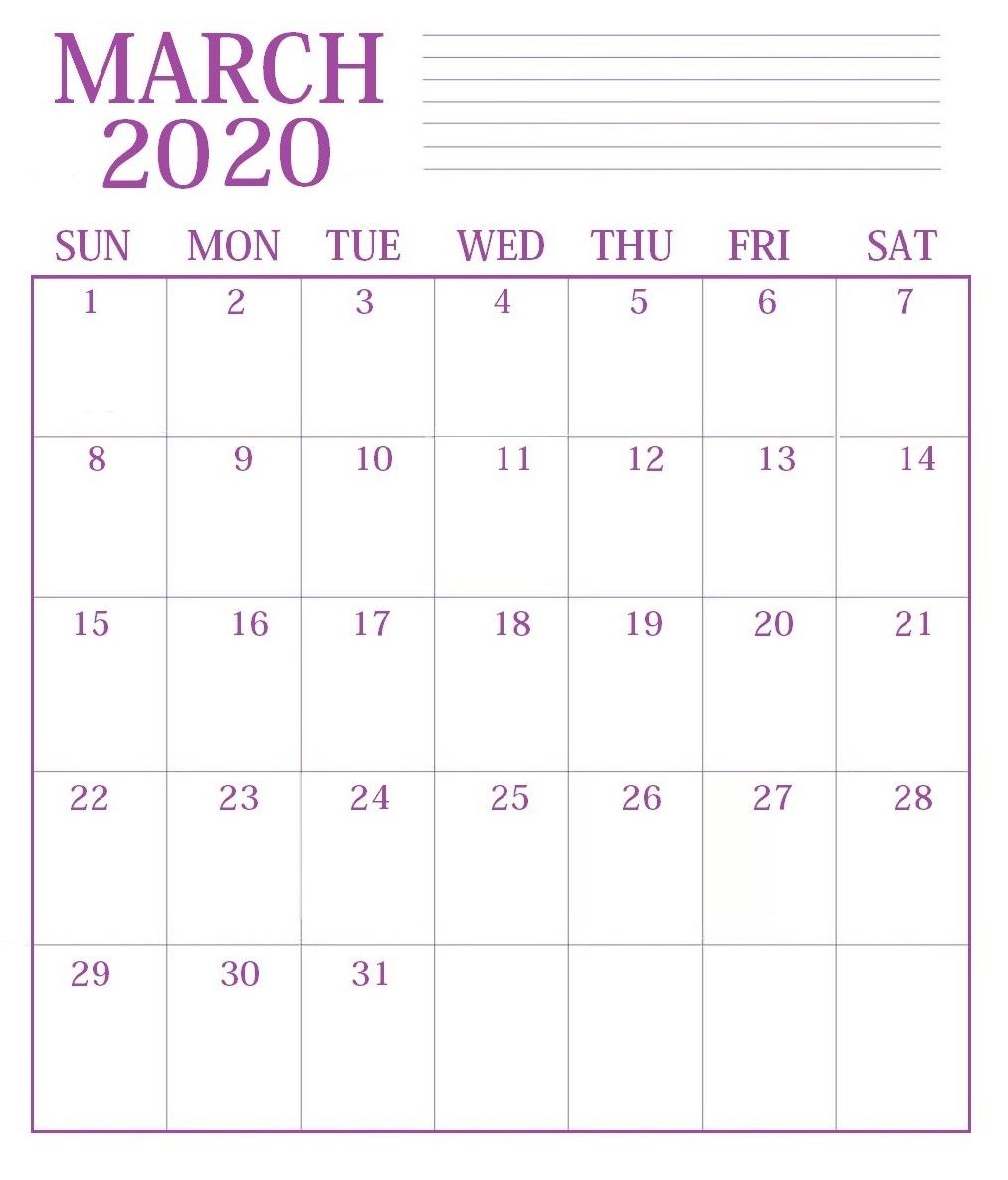 Print March 2020 Blank Calendar