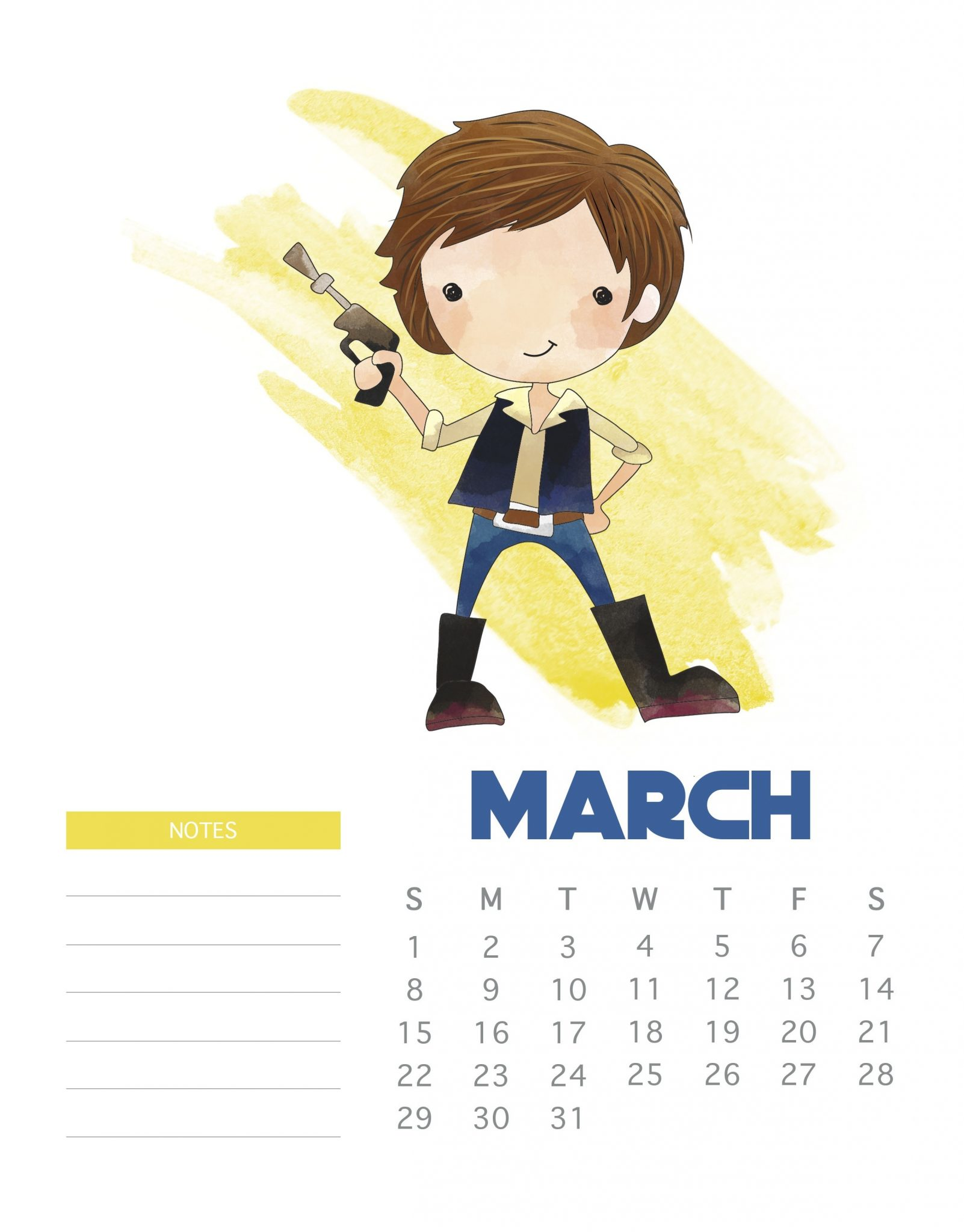 Star Wars March 2020 Calendar