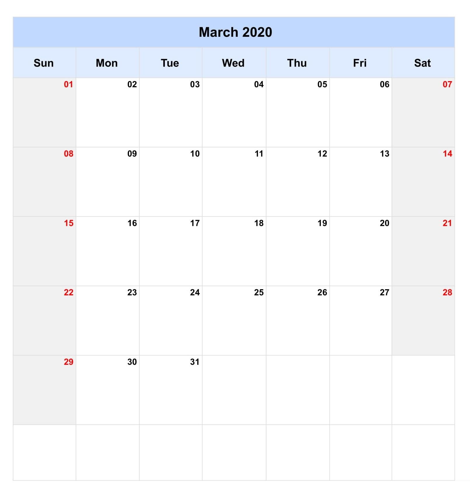 Blank March 2020 Wall Calendar