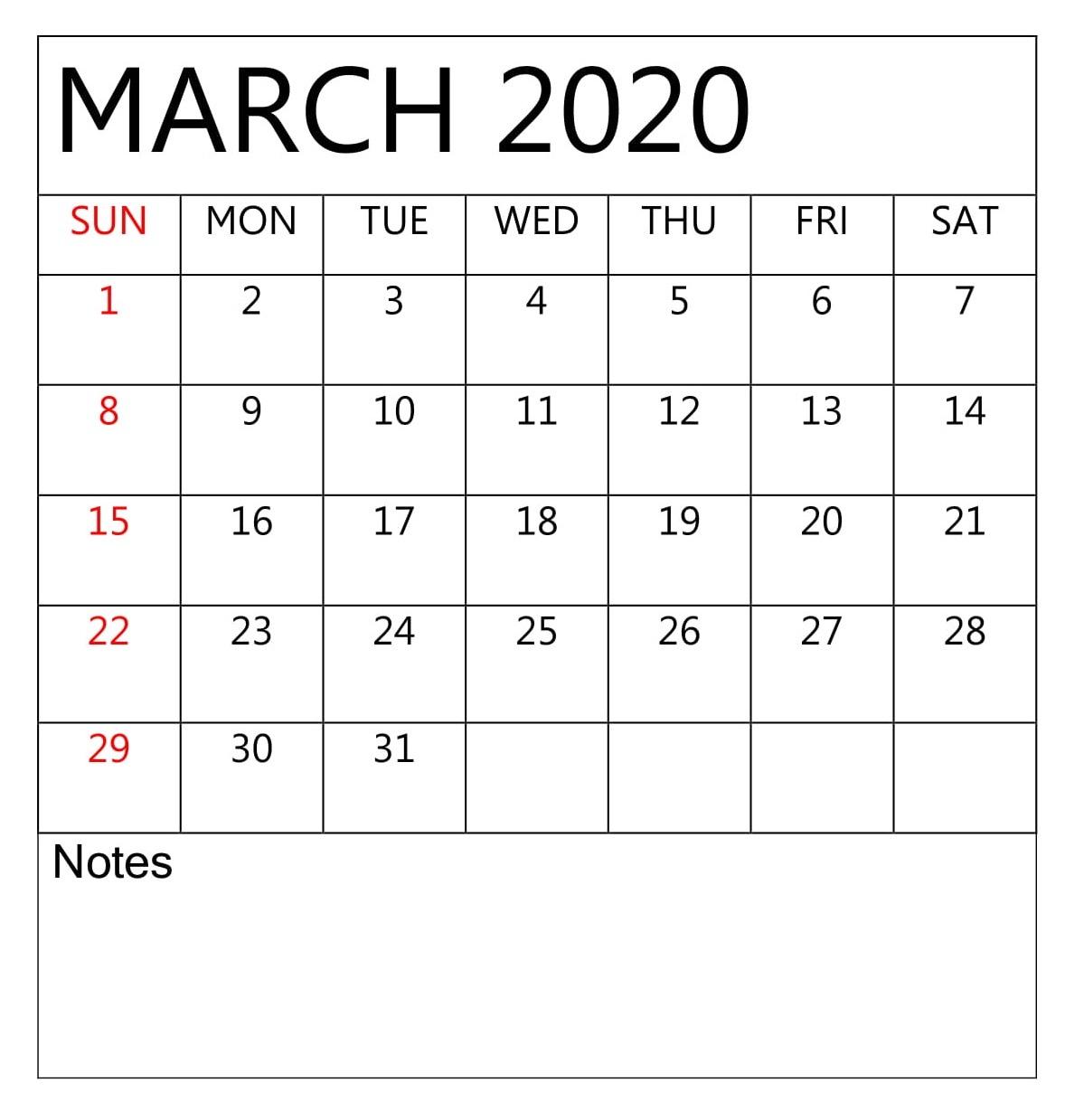 Daily March 2020 Calendar Planner