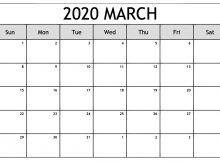 Edit March 2020 Online Calendar