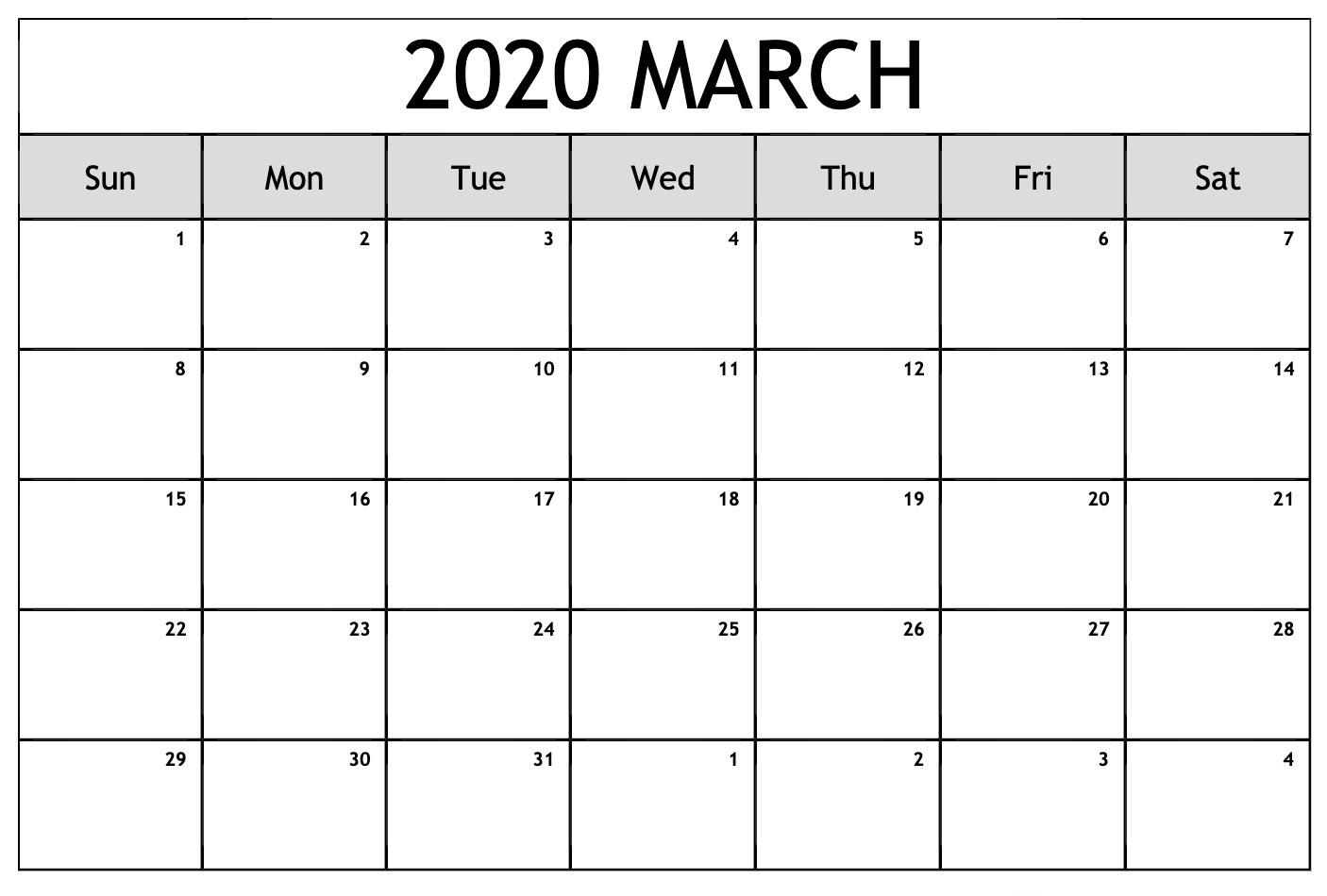 Edit March 2020 Online Calendar