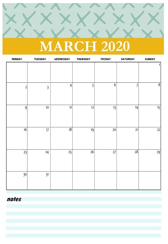 Printable March 2020 Wall Calendar