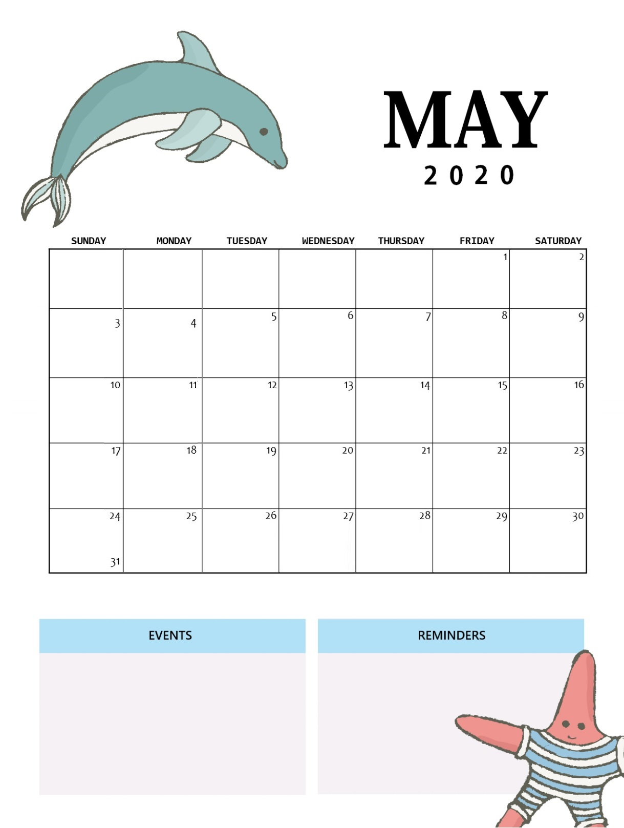 Best May 2020 Wall Calendar