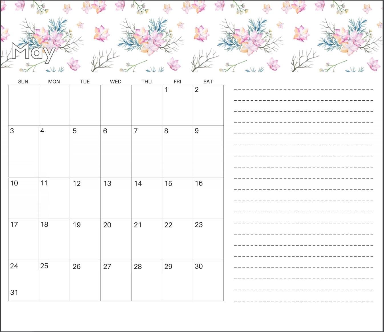 Cute May 2020 Calendar Designs