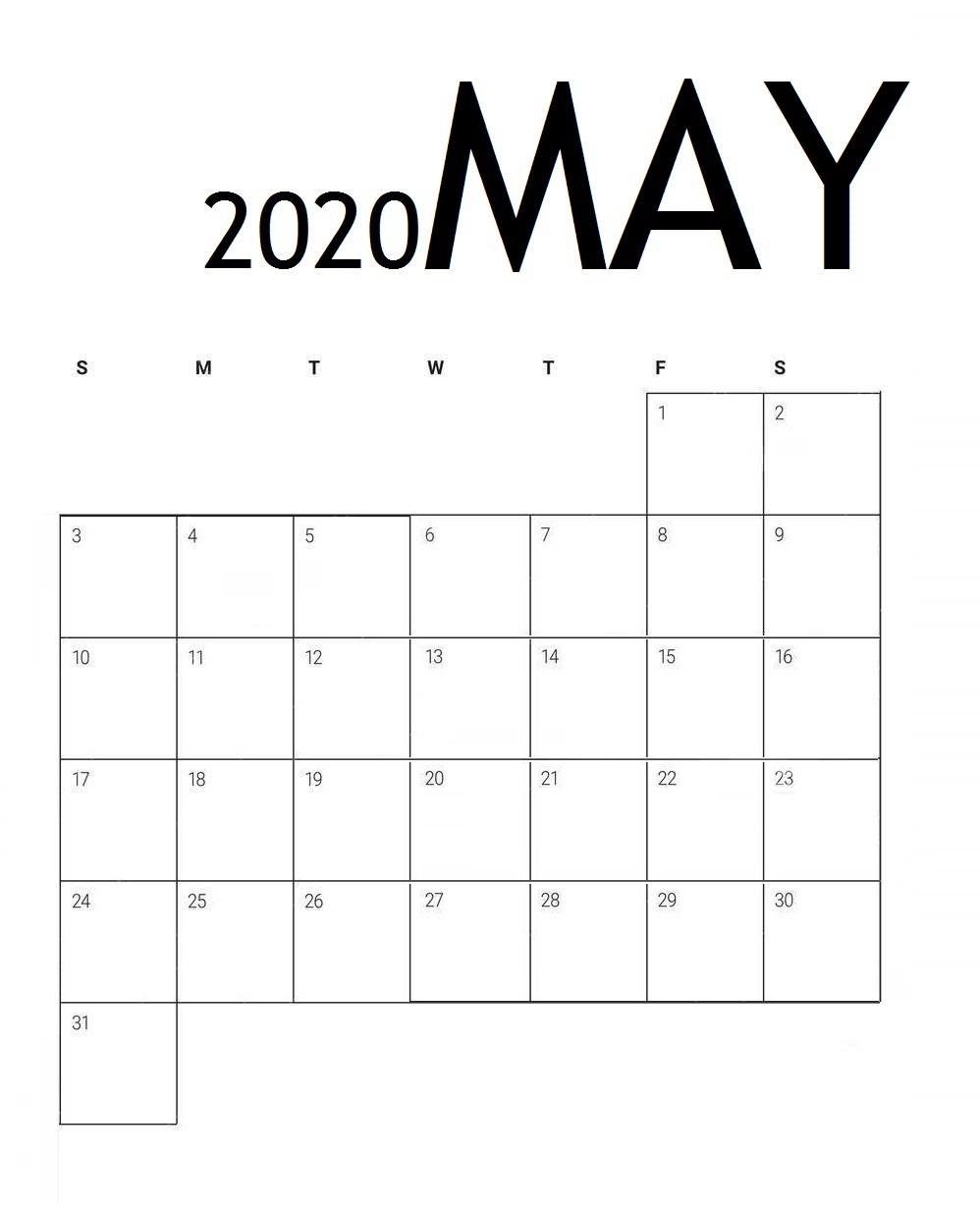 Edit May 2020 Calendar