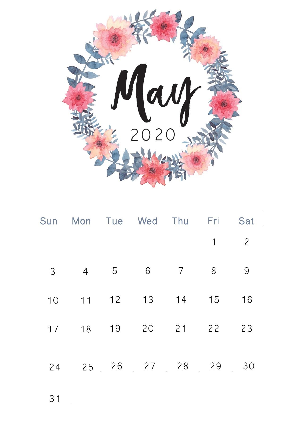 Floral May 2020 Desk Calendar