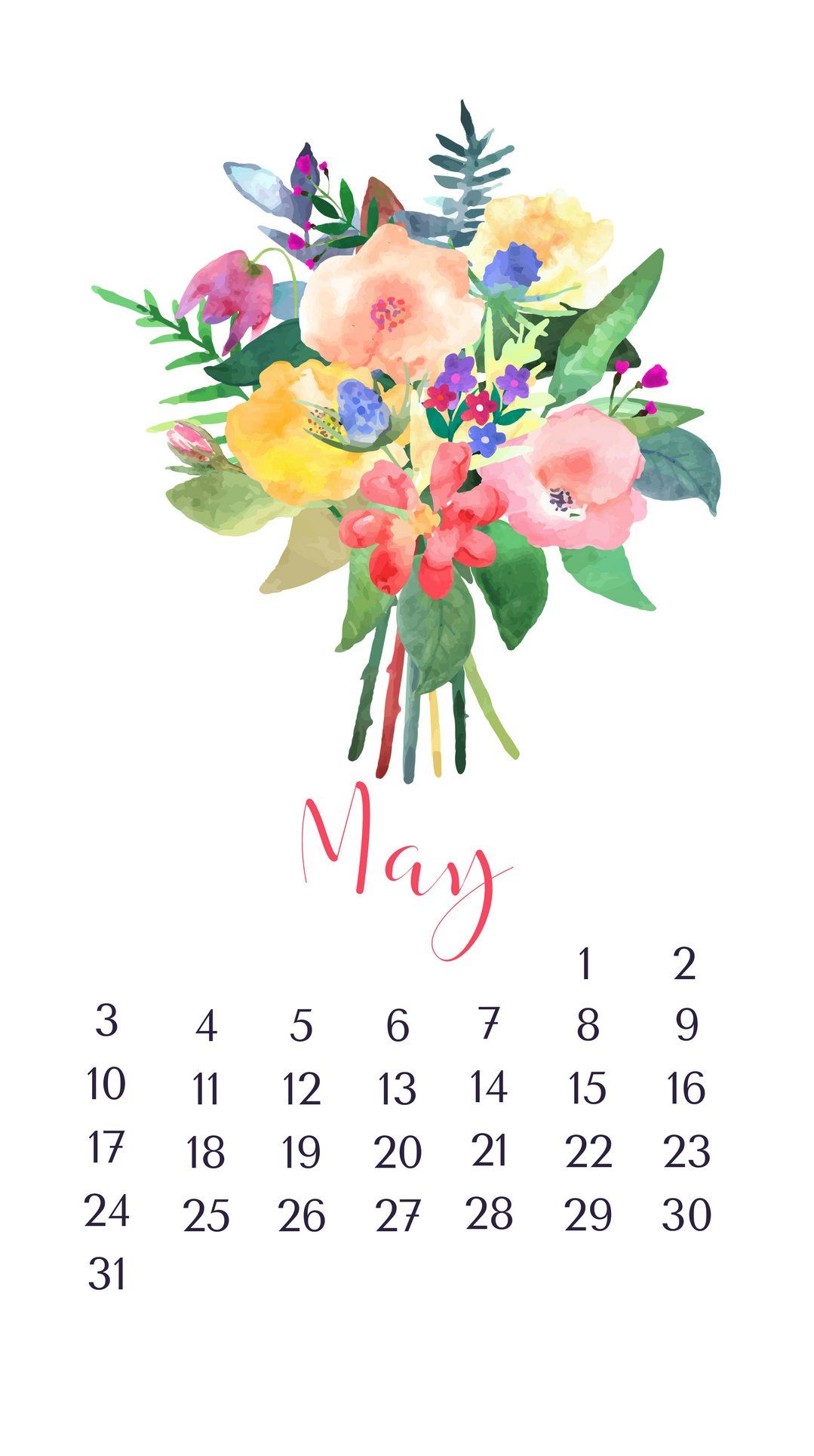 Floral May 2020 iPhone Wallpaper