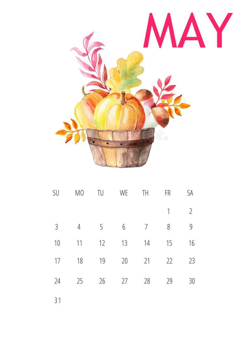 Free May 2020 Desk Calendar