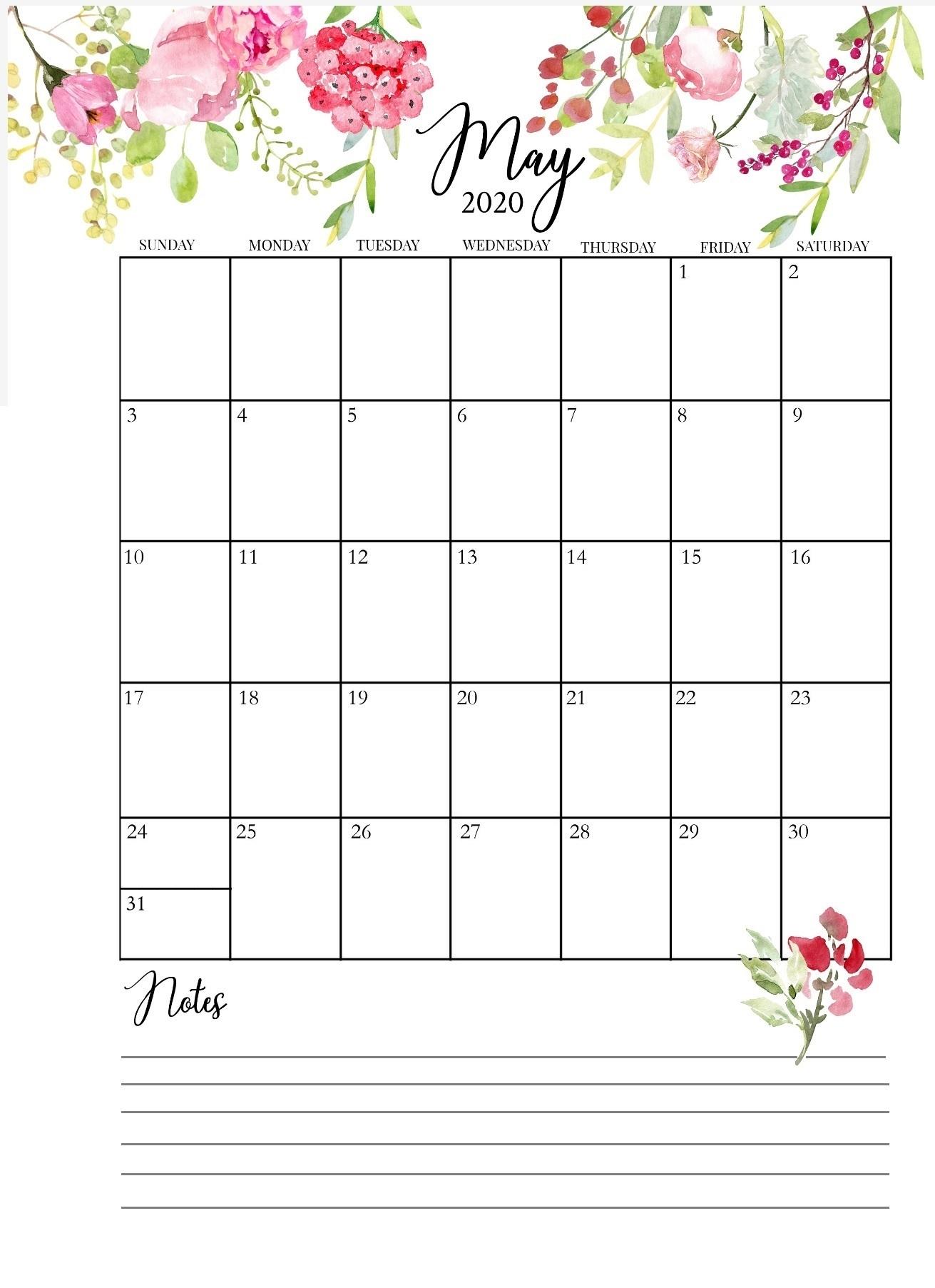 Free May 2020 Wall Calendar