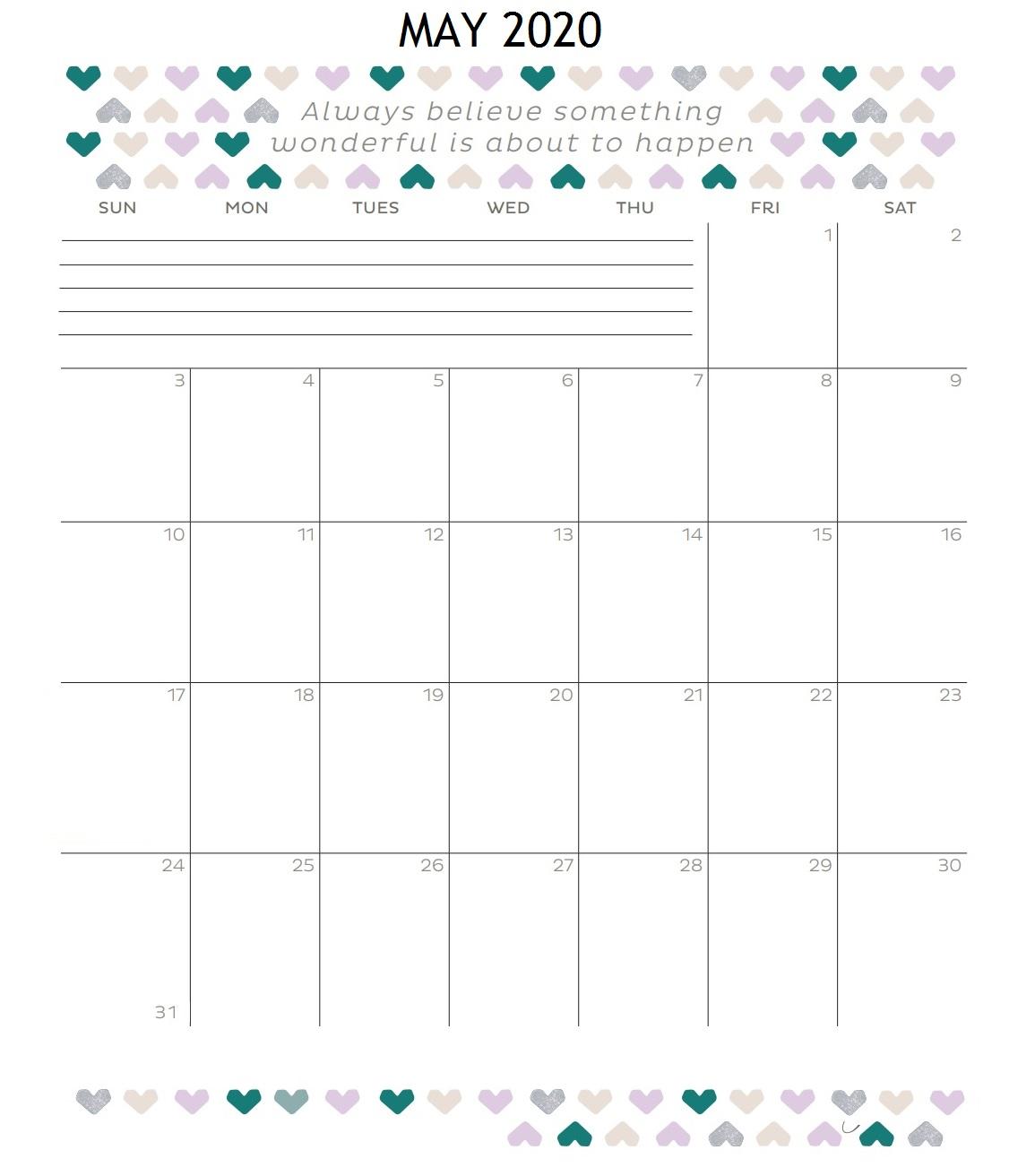 Inspiring May 2020 Quotes Calendar