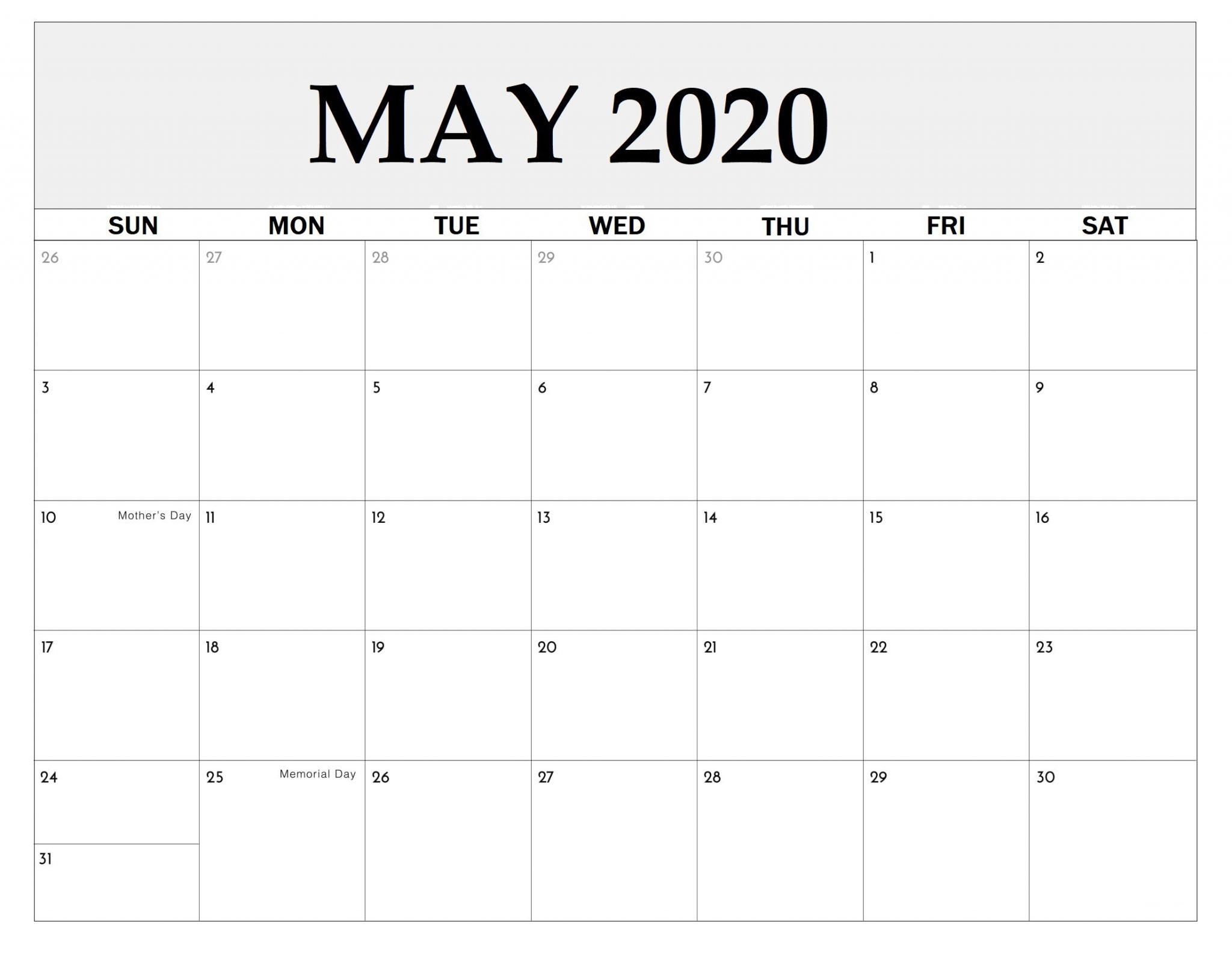 May 2020 Calendar - Free 2020 Printable Calendar Blank Templates 2020 Holidays