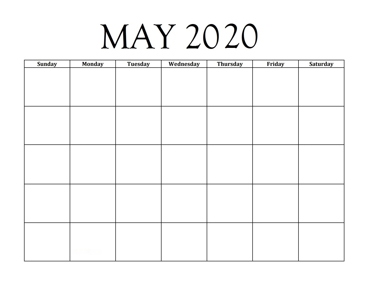 May 2020 Blank Desk Planner