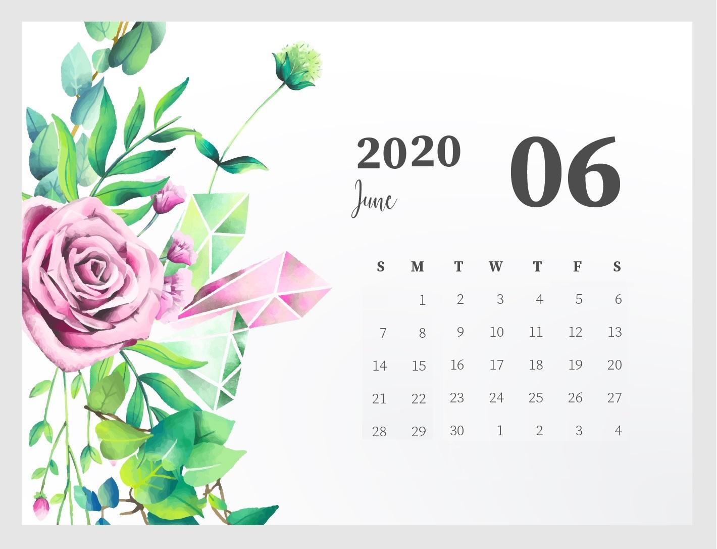 Floral June 2020 Desk Calendar