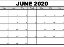 Free June 2020 Monthly Calendar