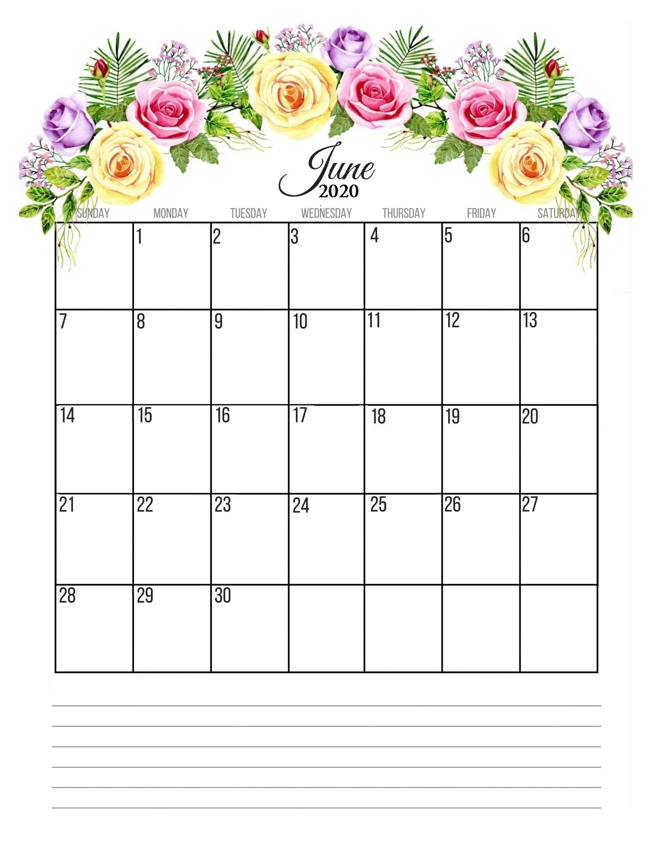 June 2020 Floral Wall Calendar