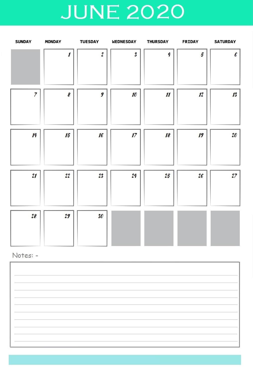 June 2020 Office Wall Calendar