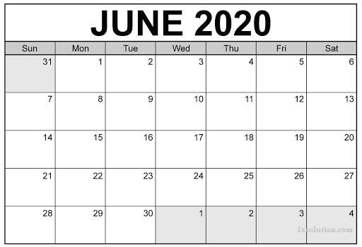 June 2020 Printable Calendar PDF