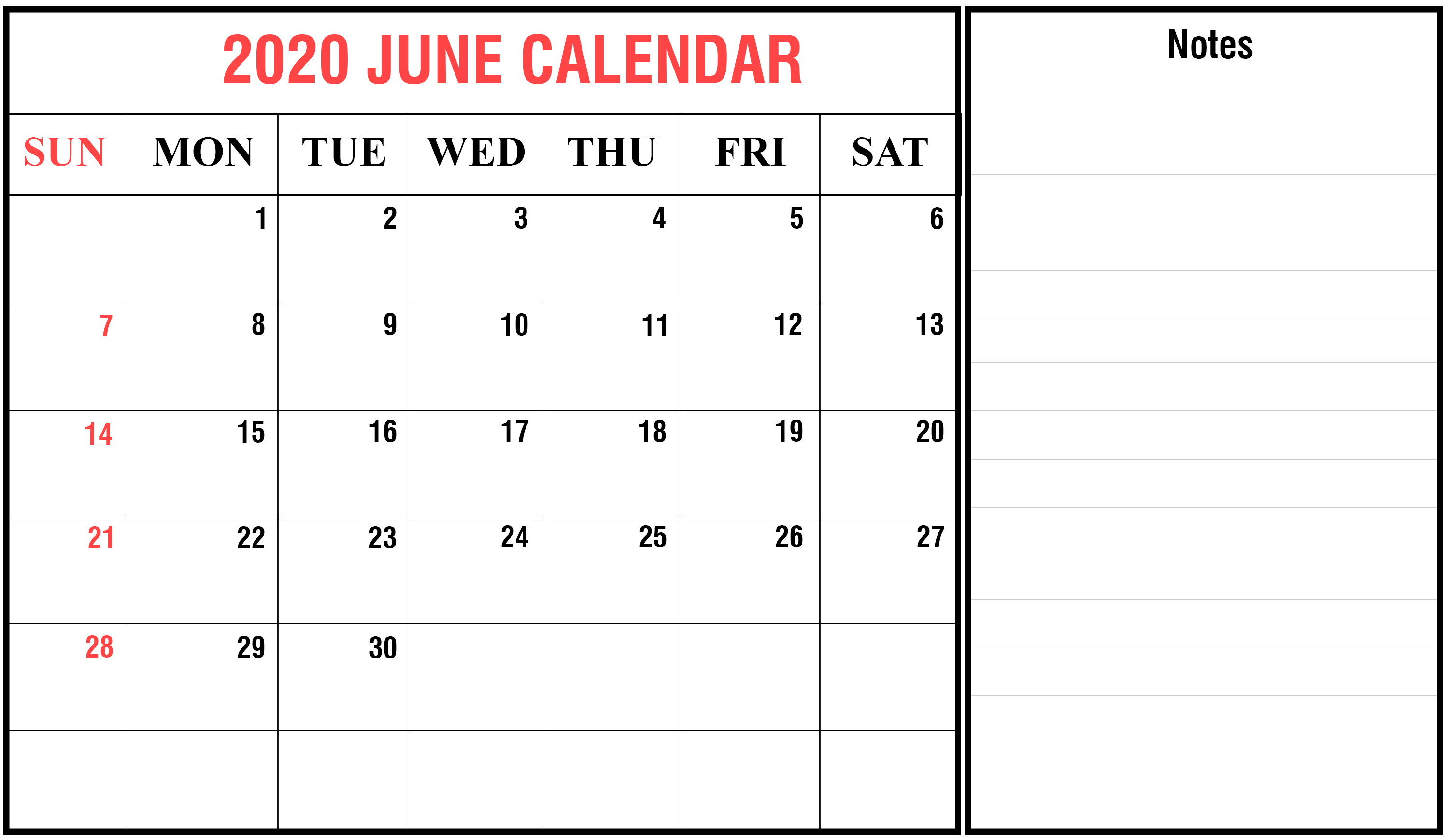June 2020 Printable Calendar with Notes